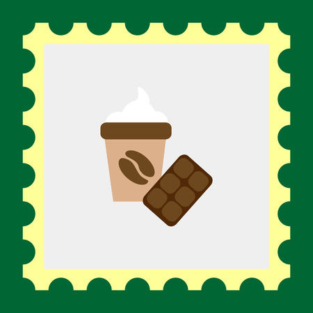 morning walk: Icon of disposable coffee cup with whipped cream and coffee bean picture and chocolate bar Illustration