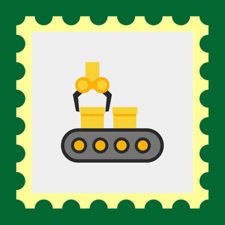 industrial belt: Vector icon of conveyor belt with boxes and industrial robot Illustration
