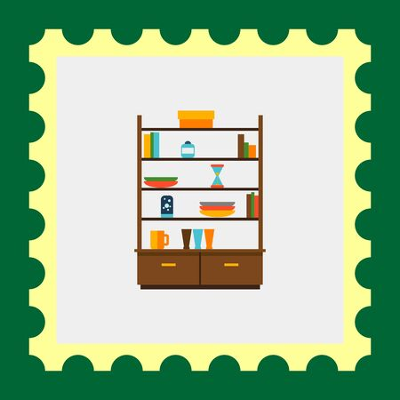 livingroom: Multicolored vector icon of cupboard with books and tableware