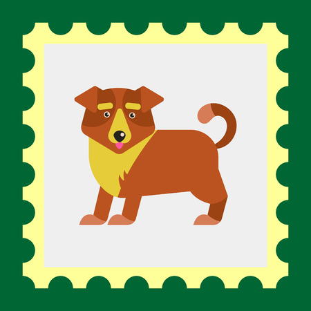 cute dog: Multicolored vector icon of cute cartoon dog