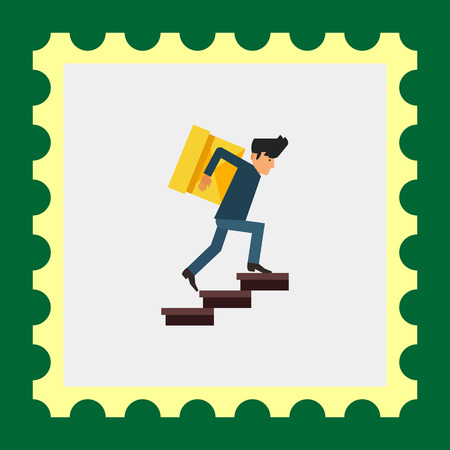 man carrying box: Multicolored vector icon of delivery man carrying heavy box upstairs