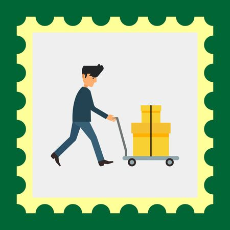 man carrying: Multicolored vector icon of delivery man carrying two carton boxes on trolley