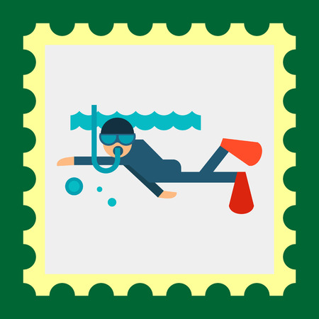 under water: Multicolored vector icon of diver swimming under water Illustration