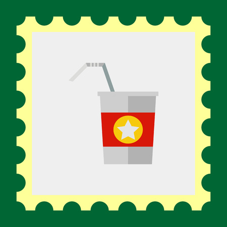 walking away: Multicolored vector icon of straw and disposable cup with red strip and star
