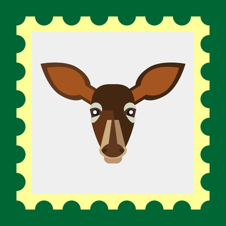 ruminant: Multicolored vector icon of brown doe head