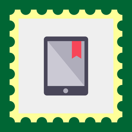 e reader: Icon of electronic book with red tab