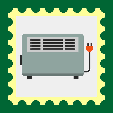 heater: Multicolored vector icon of grey electric heater Illustration