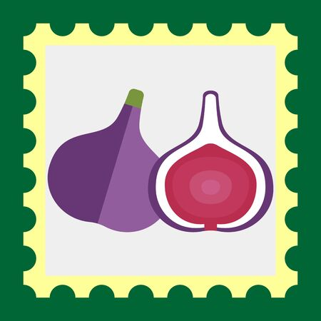 rational: Vector icon of fig and cut fig fruit icon Illustration