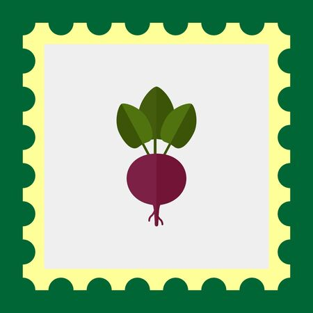 rational: Vector icon of fresh beetroot with leaves Illustration