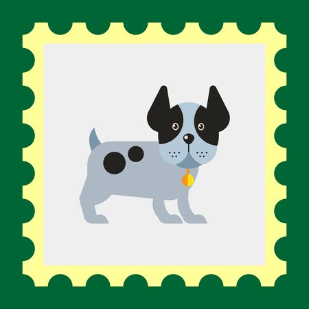body guard: Multicolored vector icon of funny dog standing with its ears up