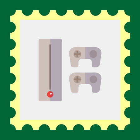 console: Icon of game console with two joysticks Illustration