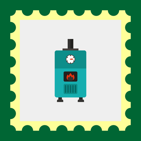 gas boiler: Multicolored vector icon of gas boiler with heat indicator