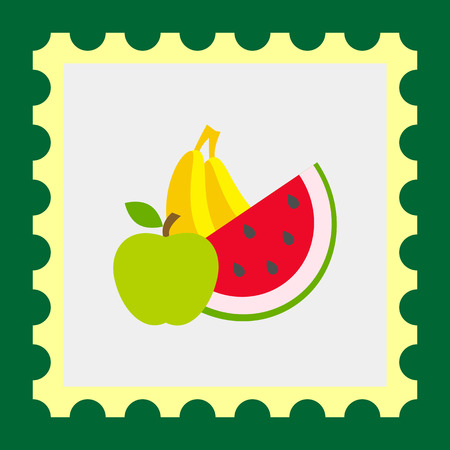 water melon: Icon of apple, banana and water melon slice