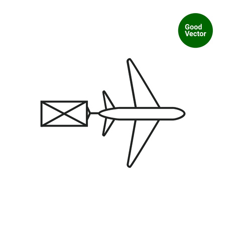 Icon of flying airplane carring letter Illustration