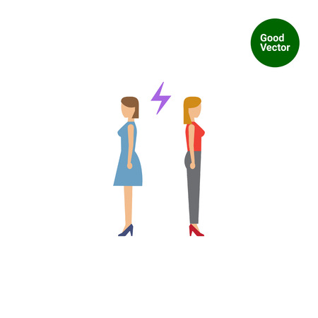 back to back couple: Icon of two woman turning back to each other with lightning sign between them Illustration