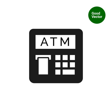 cashless payment: Vector icon of automatic teller machine with receipt
