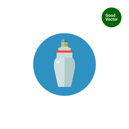 maternal: Multicolored vector icon of baby bottle with nipple