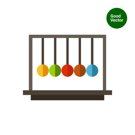 balancing: Multicolored vector icon of Newton cradle balancing balls