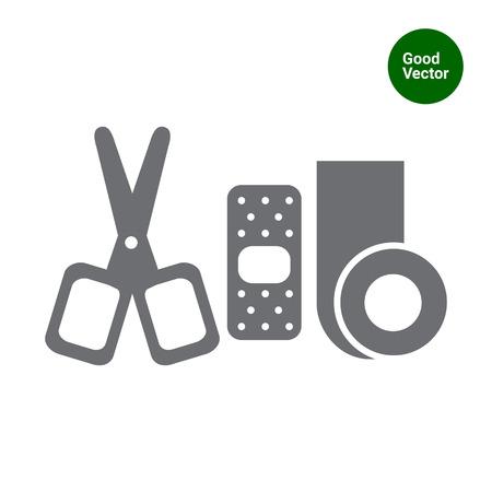 bandaging: Icon of bandaging materials and scissors Illustration