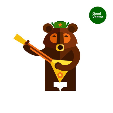 balalaika: Multicolored vector icon of Russian bear wearing warm hat and playing balalaika Illustration