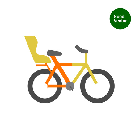 child seat: Icon of bicycle with child seat Illustration