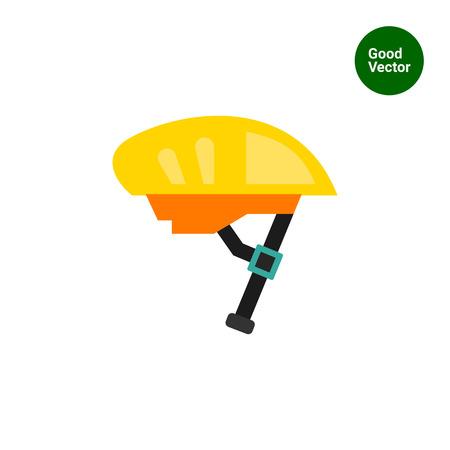 Multicolored vector icon of yellow bike helmet Illustration