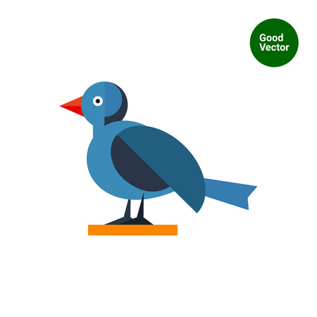 spread legs: Multicolored vector icon of blue bird, side view