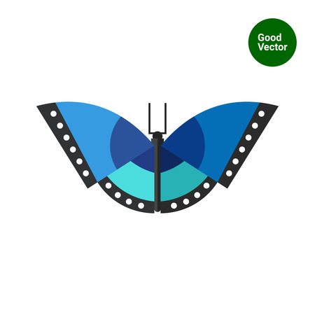 arthropods: Multicolored vector icon of blue butterfly with black stripes and white spots Illustration