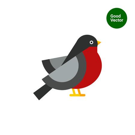 beine spreizen: Bunte Vektor-Symbol ofbullfinch, Seitenansicht