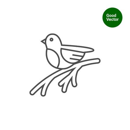 bullfinch: Icon of bullfinch sitting on tree branch