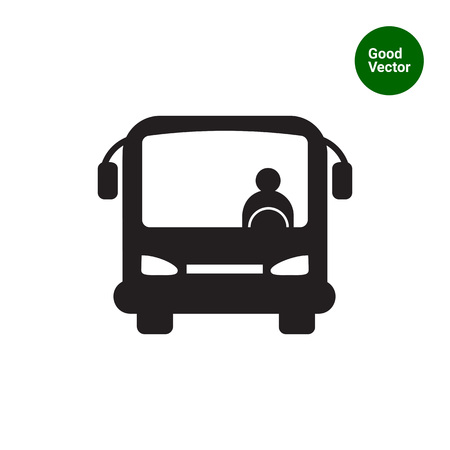 front view: Icon of bus with bus driver, front view Illustration