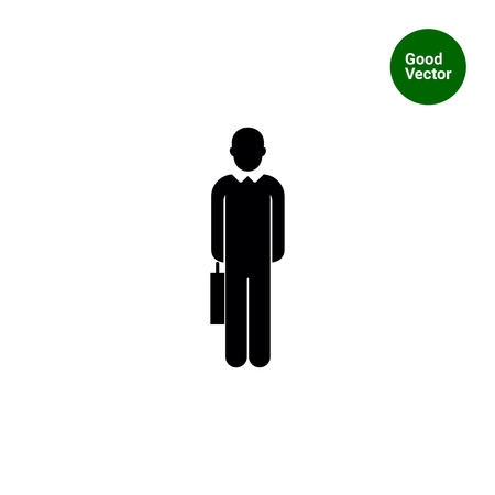 Vector icon of single faceless businessman silhouette with suitcase