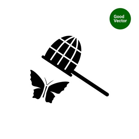 butterfly net: Vector icon of butterfly and butterfly net