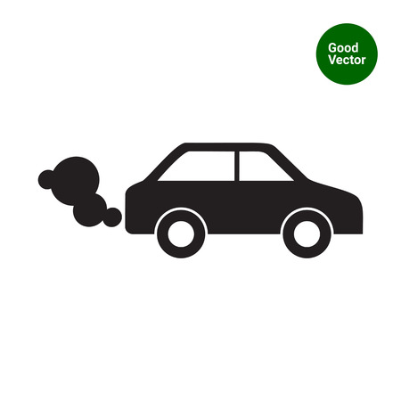 Vector icon of car emitting exhaust fumes Vetores