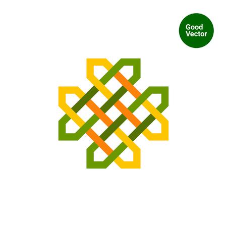 gaelic: Multicolored vector icon of green Celtic ornament