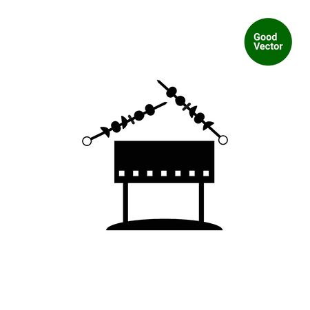 chargrill: Vector icon of chargrill with kebab on skewers