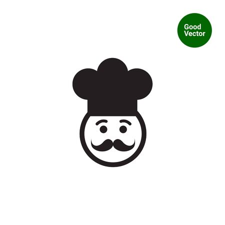 Vector icon of chef face wearing moustache and hat