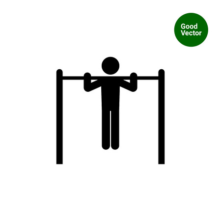 strong chin: Icon of man silhouette doing pullups