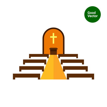 the altar: Multicolored vector icon of Catholic church interior with altar and bench rows