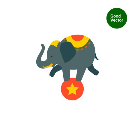 balancing: Icon of circus elephant balancing on red ball