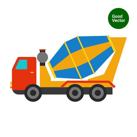 concrete mixer: Multicolored vector icon of concrete mixer truck