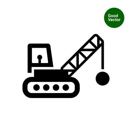 Icono de la grúa con bola de demolición Ilustración de vector