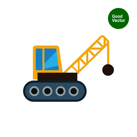 ball and chain: Multicolored vector icon of crane with wrecking ball