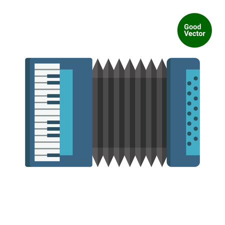 acordeón: Multicolored vector icon of blue classic accordion