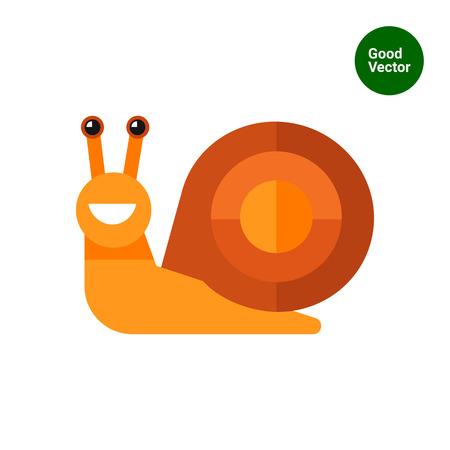 dna smile: Multicolored vector icon of cute smiling cartoon snail