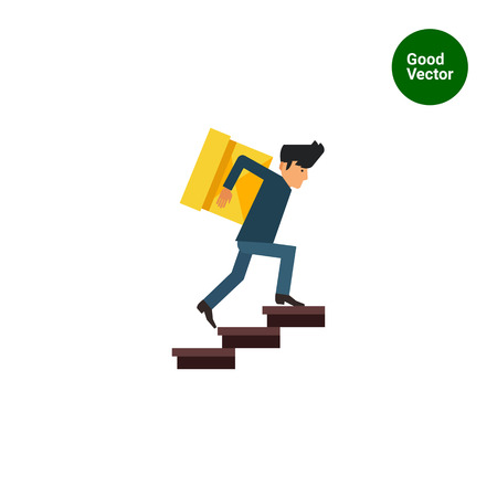 man carrying: Multicolored vector icon of delivery man carrying heavy box upstairs