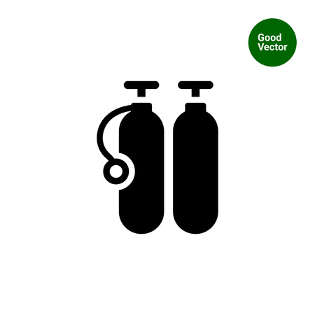 compressed air: Icon of two diving cylinders