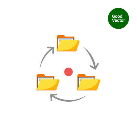 signing papers: Icon of folders with documents arranged in circle with arrows
