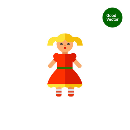 red dress: Multicolored vector icon of doll in red dress