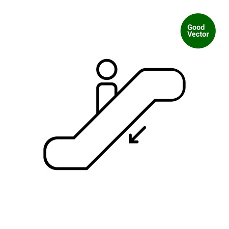 moving down: Icon of man silhouette moving down on escalator Illustration